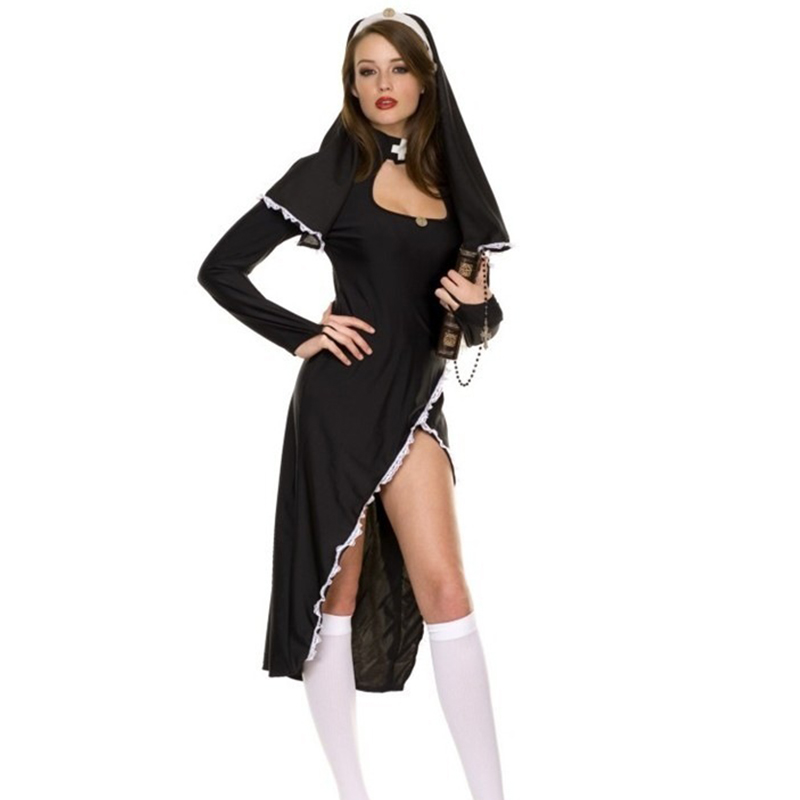 Sexy Adult Women Nun Sister Cosplay Costume Black Deep V Slit Hoodie Maxi Dress Halloween Party Role Play Clothing Fancy Dress