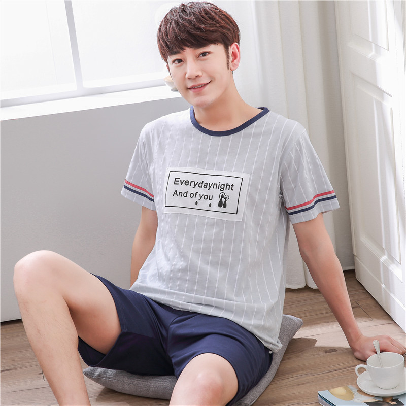 Summer Men Pyjamas Short Sleeved Cotton Cartoon Pajamas Set Casual Sleepwear Pyjamas Night Suits Pijamas Plus Size 3XL Homewear