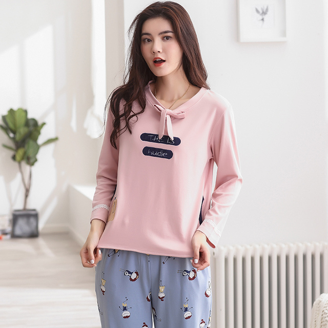 Good Quality Comfortable Pajama Sets Long Sleeve Women Sleepwear Autumn  Spring Leisure100% Cotton Pajamas Mujer c5770d715