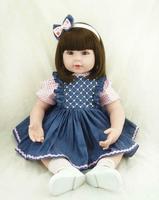 22'' Bebe Reborn Baby Popular Denim Skirt Vinyl Silicone Dolls Realistic Present Baby Doll Toy Toys for Children Girls Toys