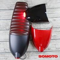 Универсальная винтажная мотоциклетная Подушка коричневое сиденье для езды на мотоцикле с чехлом и задний фонарь