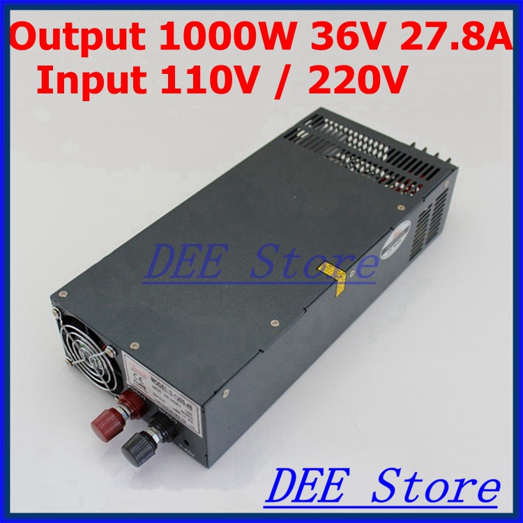 Led driver output 1000W 36V 27.8A input ac 110v/220v to dc 36v Single Output Switching power supply unit for LED Strip light 600w 36v 16 6a 110v input single output switching power supply for led strip light ac to dc