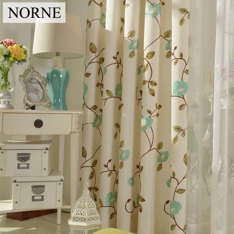 NORNE geborduurde bloemengordijnen voor slaapkamer, thermisch - Thuis textiel