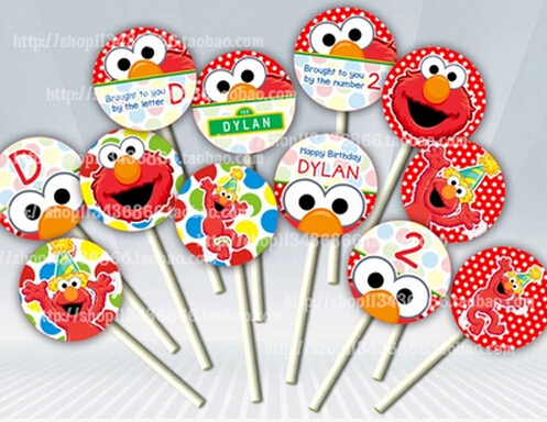 8 Pcs Sesame Street Theme Decorate Cupcakes Toothpick Toppers Picks  Birthday Party Favors Kids Baby Shower