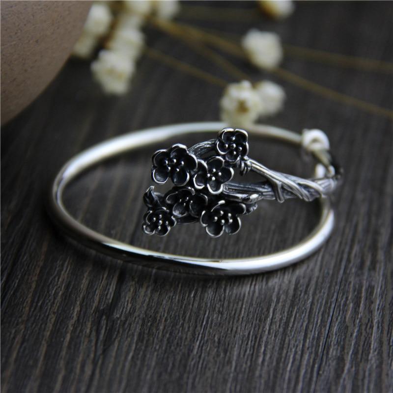 Pur argent éthique 925 Sterling Thai argent Bracelets et Bracelets Vintage taille ouverte prune S925 bracelet bijoux