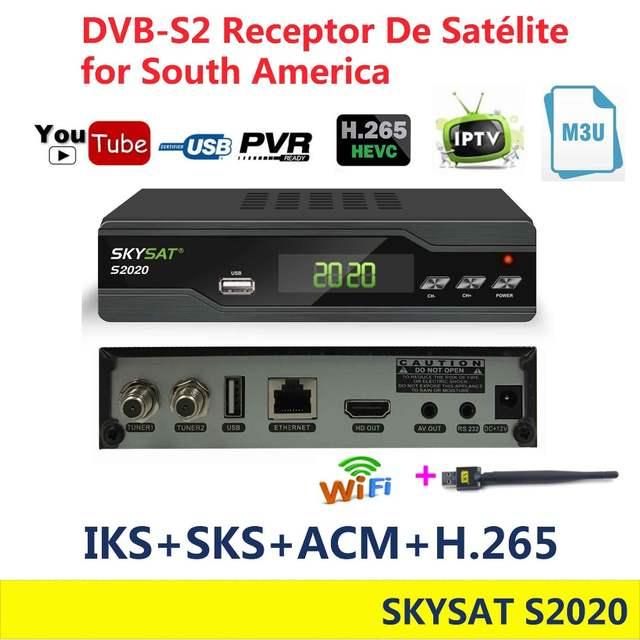 SKYSAT S2020 Dual Tuner Satellite Receiver IKS SKS VOD ACM IPTV M3U H 265  RECEPTOR DE SATELITE stable server for South America