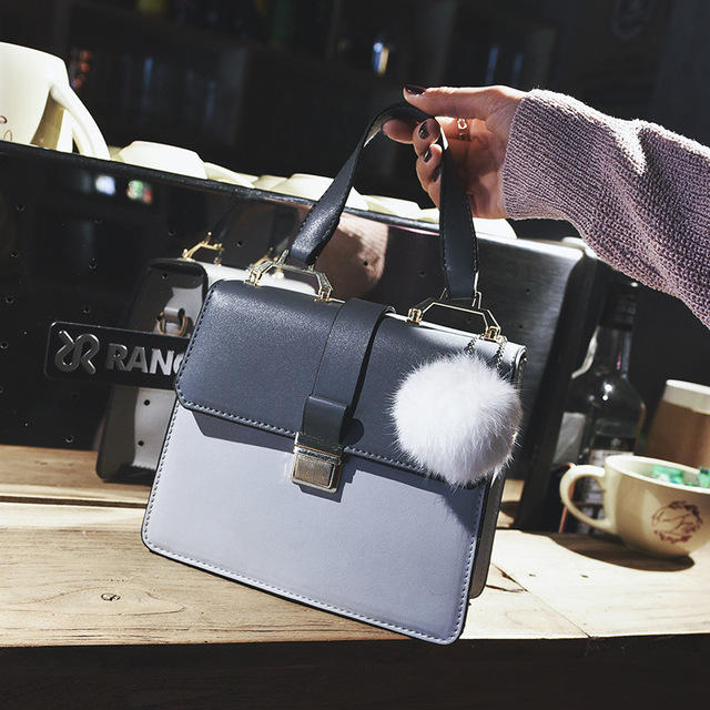 Women Bag PU Leather Handbags Panelled Vintage Women Messenger Bags Flap Lock Bolsas Femininas Fur Ball Cover Tote Shoulder Bags
