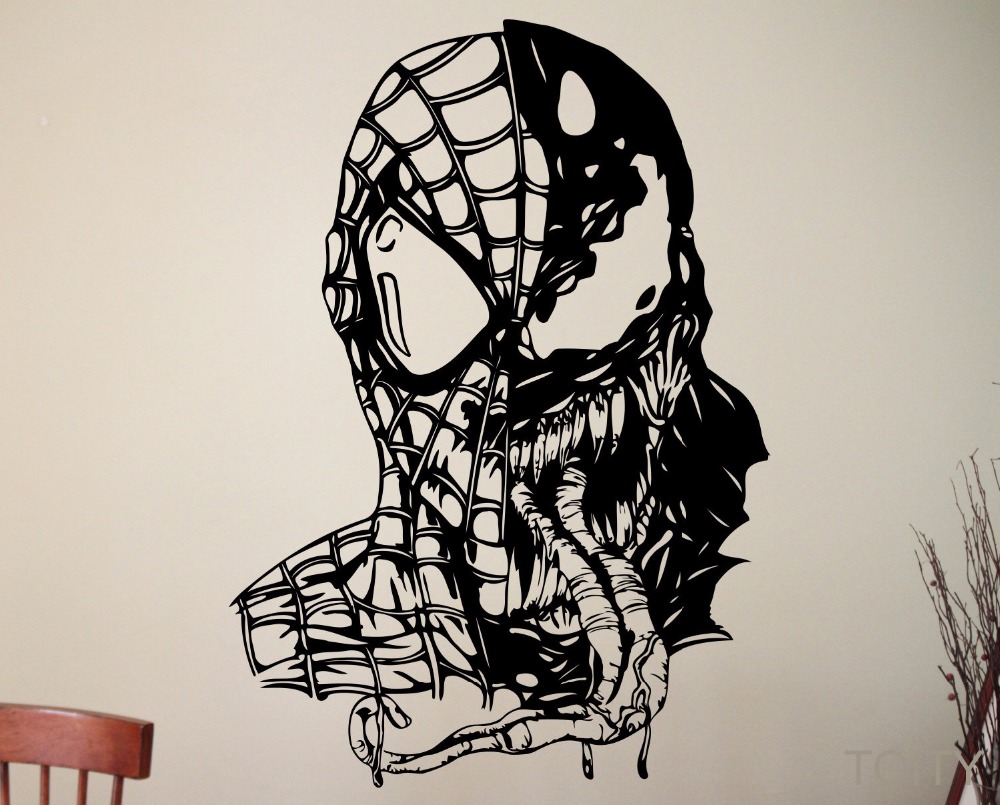 Venom Spiderman Wall Art Sticker Marvel Comics Supervillain Vinyl Decal Decoration Home Kids Room Decor Removable Mural