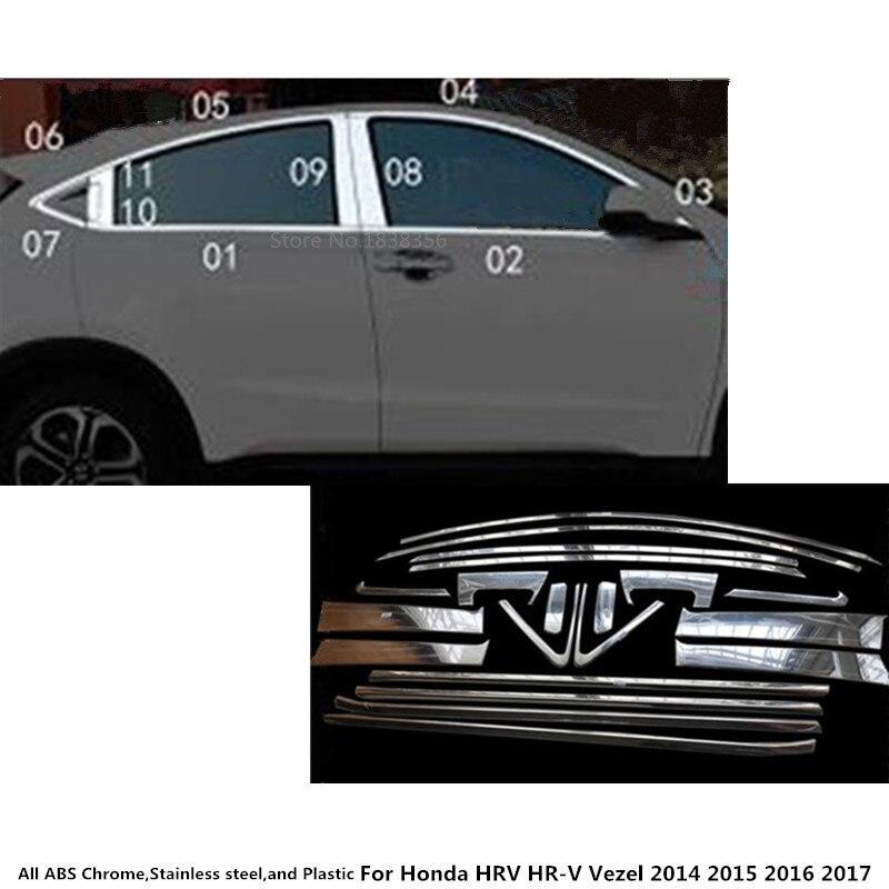 Voiture corps bâton en acier inoxydable verre fenêtre pilier colonne du milieu bande garniture panneau pour Honda HR-V VRC Vezel 2014 2015 2016 2017