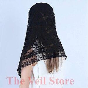 Image 5 - Black white Lace Veil Catholic Mantilla Veil for church Head Covering Latin Mass Bride Veil velo de novia 2019 voile dentelle
