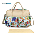 mommore Printed Diaper Bag Baby Nappy Bag With Changing Pad Mother Tote Bags Mummy Handbags Waterproof Baby Stroller Bag