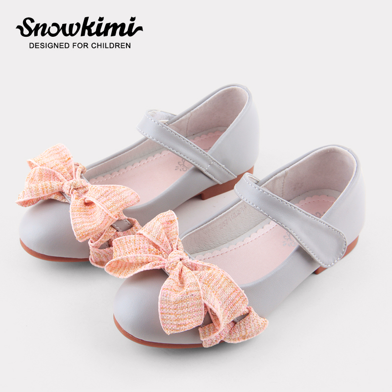Snowkimi 2018 Spring Girls Leather Shoes Lace Bow Shallow Mouth Flat With Microfiber Breathable Rubber Outsole New Freeshipping 2018 spring new dot mesh pointed toe flat shoes female breathable shallow mouth bow sandals