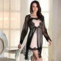Outono Sexy pijamas mulheres robe tentação de renda Preta perspectiva camisola Estilingue Roupões Saia Two-piece