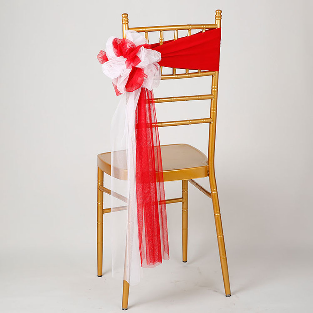 25pcs lot Wedding Chiavari Chair Decoration White Red Chair Sashes Stretch Lycra Chair Band For Hotel