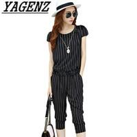 Large size 2 piece set Summer Women's Suit 2018 New Korean Loose Striped Tops+Pants Ladies 2 piece set Casual Clothing Sets 5XL