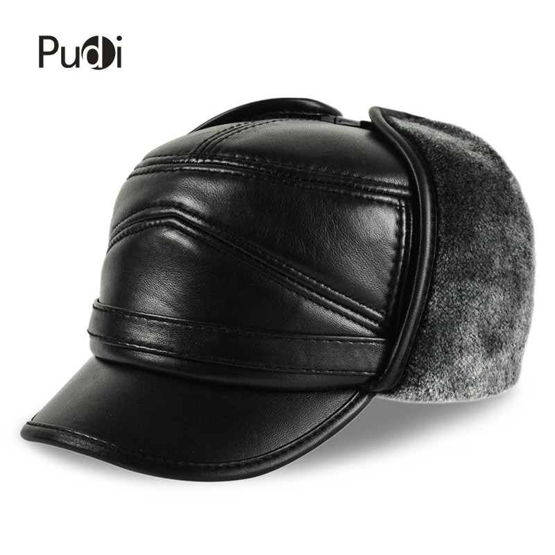 HL164-F Genuine leather baseball cap hat men's brand new cow skin leather hats caps ear flap black with Faux fur inside aorice autumn winter men caps genuine leather baseball cap brand new men s real cow skin leather hats warm hat 4 colors hl131