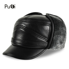 HL164-F Genuine leather baseball cap hat  men's brand new cow skin leather hats caps ear flap black with Faux fur inside цена