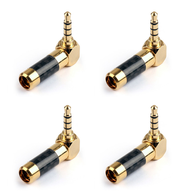 Areyourshop Audio Connector Gold Plated 3.5mm Stereo 4Pole Plug Jack Audio Right Angle Adapter Carbo