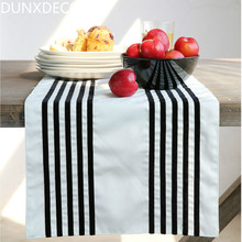 DUNXDECO Table Runner Cotton Blend Tablecloth Bar Store Party Wedding Decoration Fabric Cover Elegant Modern White Black Strip
