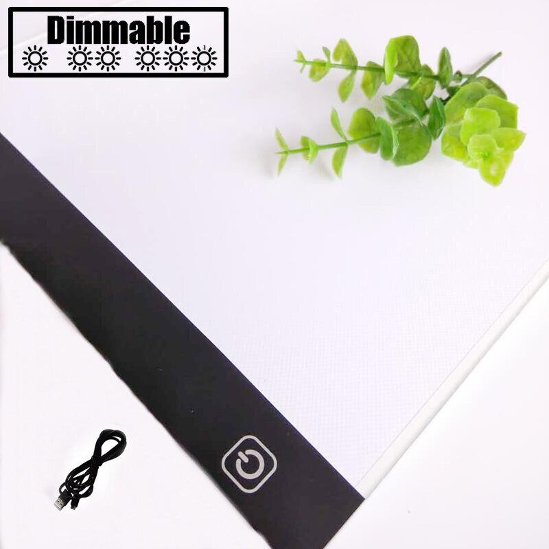Tactile gradation Ultra-Mince 4mm A4 LED Lumière Tablet Pad S'appliquent à L'UE/ROYAUME-UNI/UA/US/ USB Plug Diamant Broderie Diamant Peinture peinture