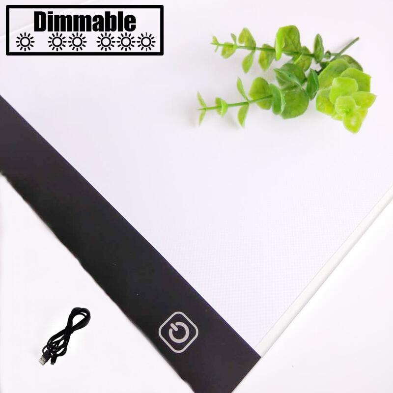 Toccare dimming Ultrasottile 4mm A4 HA CONDOTTO LA Luce Tablet Pad Applicare per EU/UK/AU/US/ USB Spina di Diamante Del Ricamo Diamante Pittura pittura