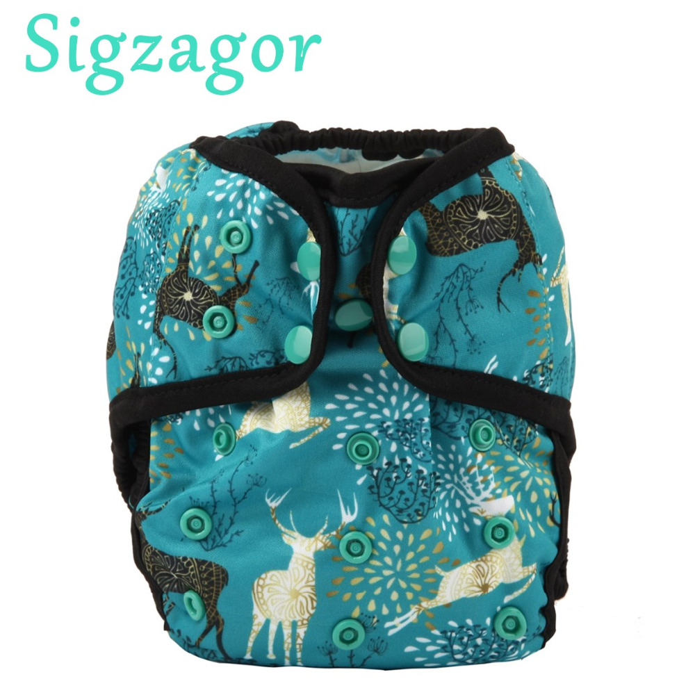 Sigzagor 12 One Size Baby Cloth Diapers Covers Nappies Adjustable Waterproof PUL Double Gusset OS
