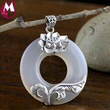 Colgante para las mujeres 100% 925 blanco Calcedonia joyería étnica flor de loto hojas vintage Jade lujo SP36