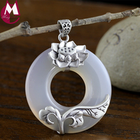 Pendant For Women 100% 925 Sterling Silver White Chalcedony Jewelry Ethnic Lotus Flower Vintage Leaves Jade Luxury SP36