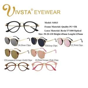 Image 2 - IVSTA Clip On Sunglasses Men Removable Clips Flip Up Glasses Round Steampunk Women Optical Frame Graduated Retro Mirror Lenses
