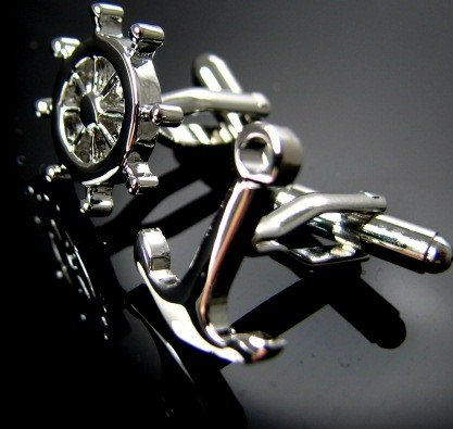 IGame Rudder & Anchor Cuff Links Silver Color Brass Material Free Shipping