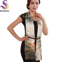 Silk Scarf Shawl 100% Pure Silk Women Scarves Printed Spring Autumn Elegant All-match Beige Brown Scarf Wraps 178*55cm
