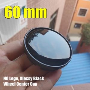 Image 1 - 1 adet 60mm parlak siyah jant jant kapağı hiçbir Logo siyah ABS plastik JANT KAPAĞI oto jant kapağı