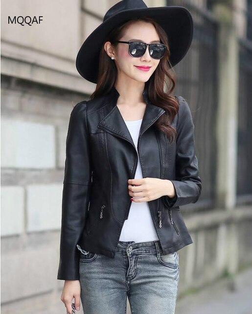Petite veste en cuir noir femme