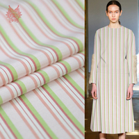 American Style Pink Green Stripe Print Cotton Silk Fabric For Dress Natural Silk Tissu Coton Tela