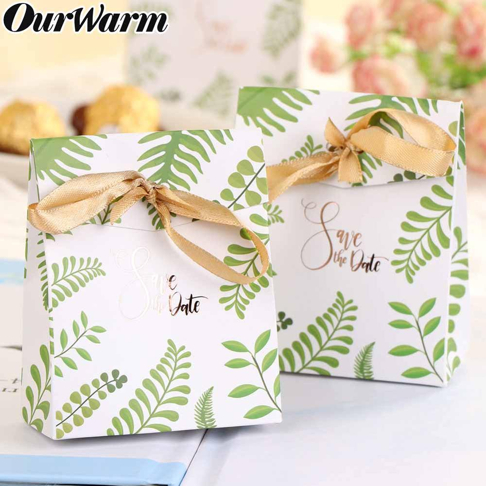 OurWarm 20Pcs Hawaiian Party Green Leaves Paper Box For Candy Packing Greenery Wedding Favor Gift Boxes Jungle Party Decoration