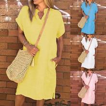 women dresses girl Solid Dress Casual V neck Pocket female Button  Cotton Linen