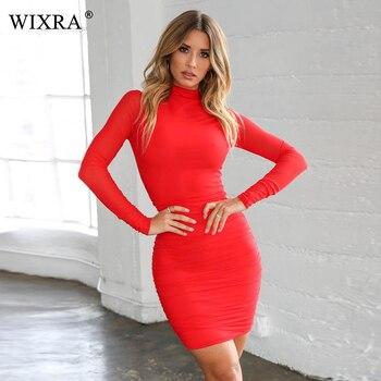 a6b8ba614a Wixra básico nuevo cuello alto vestido Mini vestidos sólido elástico corto  Bodycon invierno primavera otoño caliente ropa de mujer