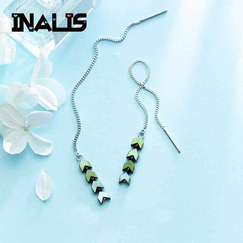 INALIS New Unique Design Long Chain Ear Line S925 Sterling Silver Green Stone Arrow Dangle Drop Earrings Fine Jewelry for Women
