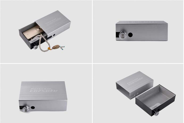 Car Safes Portable Safe Box Password Lock Safes Jewelry Cash Pistol Storage Box Aluminum alloy Security Strongbox Cable Fixed (21)