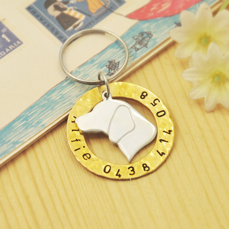 personalized beagle dog id tag hand stamped pet id customized dog