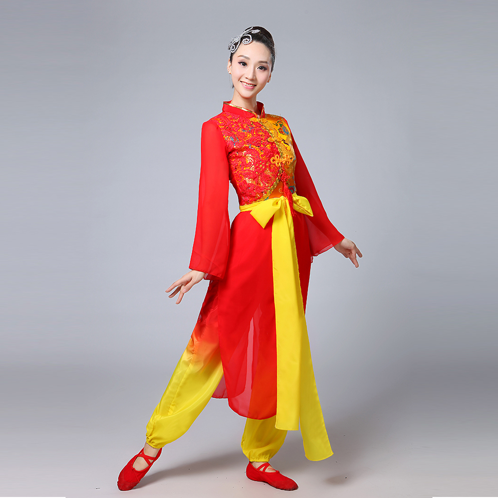 Classical Dance Costumes for Men and Women with A Drum Yangko Stage Modern Dance Stage Performance Clothes