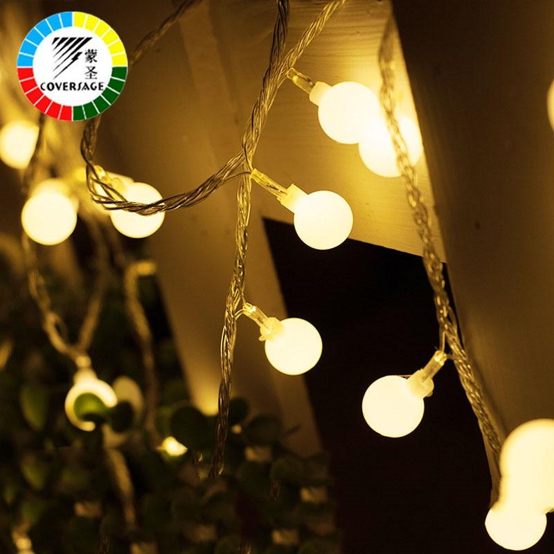 Coversage 10M 100 Led String Festoon Christmas Tree Garland String Xmas Decoration Ball Led Curtain Navidad Fairy Lights Holiday