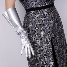 Women Hot Patent Leather Wide Sleeves Simulation Gloves Mirror Bright silver 50cm Men And 3-B87