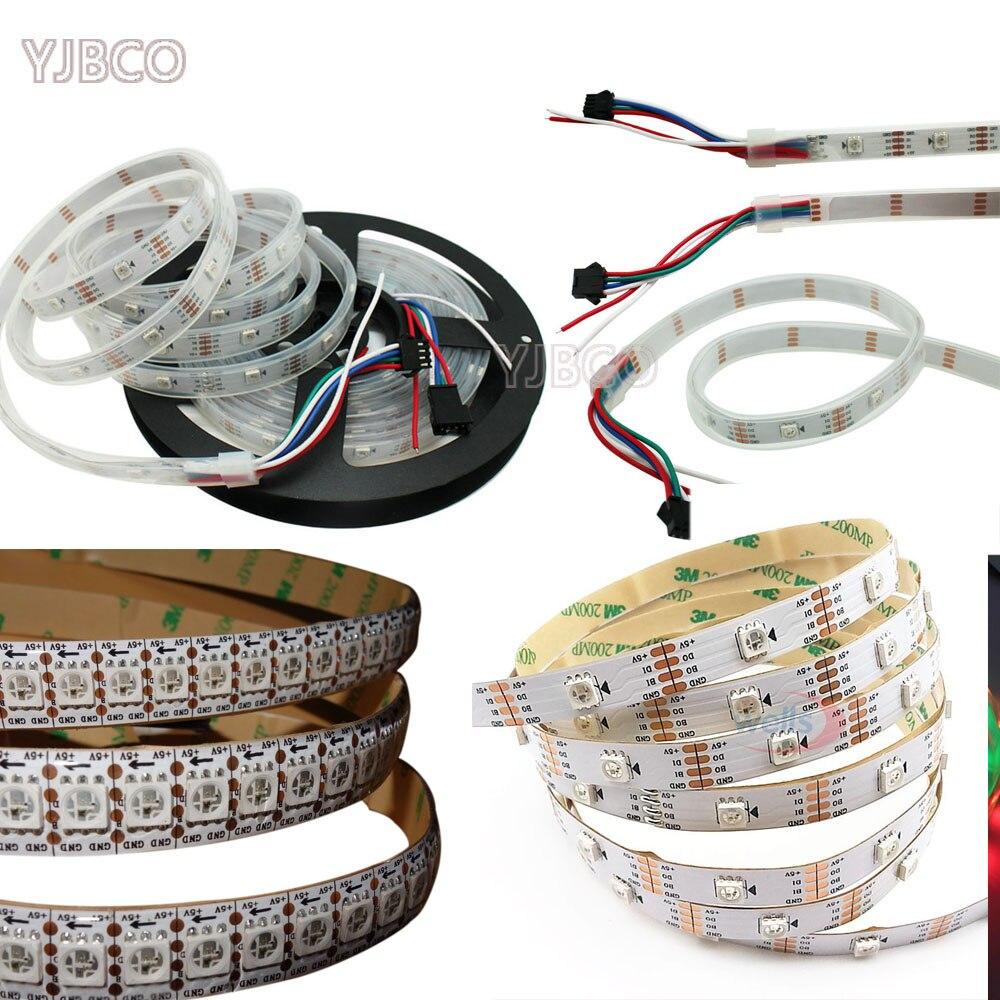 Fils à double signal de haute qualité 5 m DC5V WS2813 30/60/144 leds/m adressables individuellement bande de lumière de pixel LED rvb 2811 ws2812b vers le haut