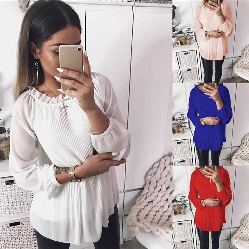 Casual Women Ruffle Neck Pleated O-neck Blouse Solid Long Sleeves Chiffon Tops H9