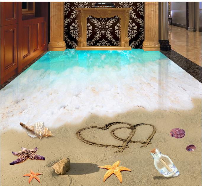 ФОТО custom 3d floor Romantic Beach waterproof adhesive wallpaper 3d wall murals wallpaper for living room 3d flooring