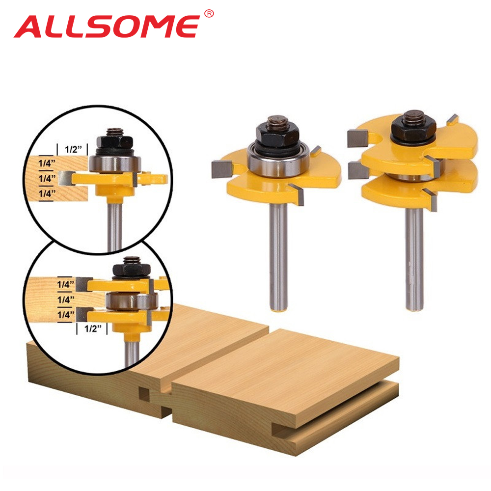 "ALLSOME 2PC Tongue & Groove Router Bit Set 3/4"" Stock 1/4"" Shank 3 Teeth T-shape Wood Milling Cutter Flooring Wood Working Tools"