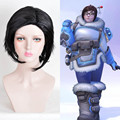 Overwatch Cosplay Wig Short Straight Black Crochet Braids Wigs Fashion Party Cheap Synthetic Kinky Wig Hair Bundles