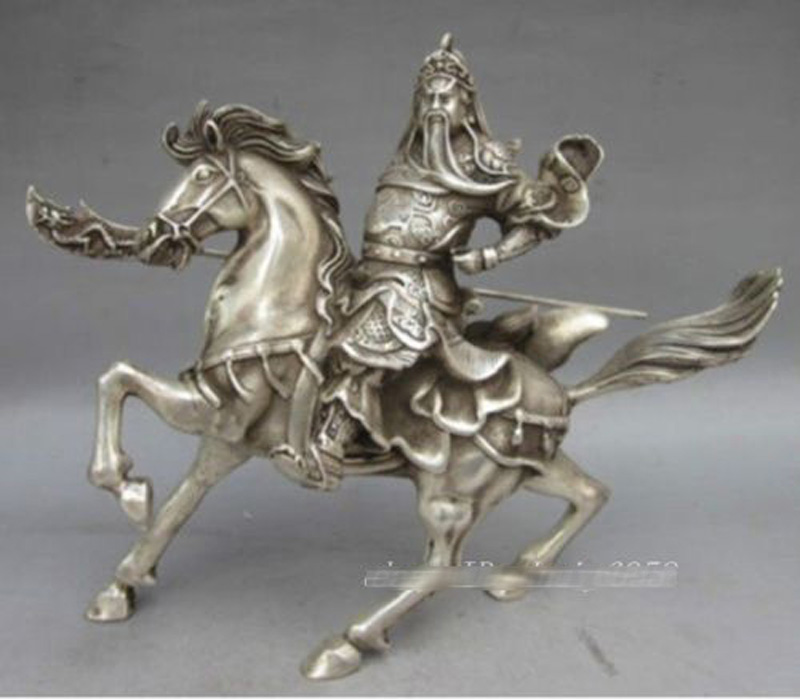 8 Collectable Tibet Silver Copper Warrior God Guan Yu Statue8 Collectable Tibet Silver Copper Warrior God Guan Yu Statue