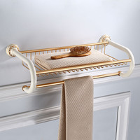 Bathroom Towel Racks Fixed Aluminum White and golden Towel Holder Wholesale Wall Mounted 60cm Bathroom Storage Rail Towel Shelf